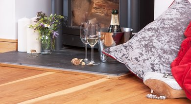 Champagne and Shoes by the Fire 390 x 214